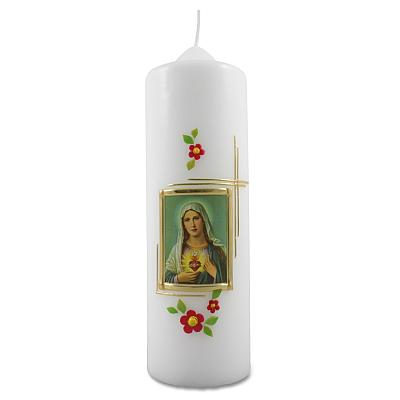 Kerze 'Herz-Maria' mit Blumen (Herzmaria)
