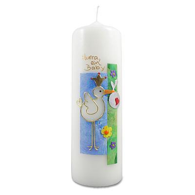 Kerze 'Storch' zur Geburt, blau