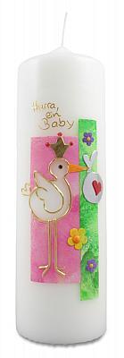Kerze 'Storch' zur Geburt, rosa
