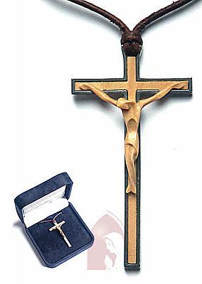 Kette mit Kreuz aus Buchsholz und Stahl (Buchsbaumholz)