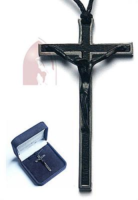 Kette mit Kreuz aus schwarz gebeitzt und Stahl (Ebenholz)