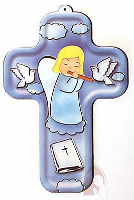 Kinderkreuz Engel mit Flöte blau