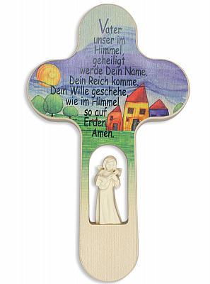 Kinderkreuz 'Vater Unser' mit Engel aus Holz