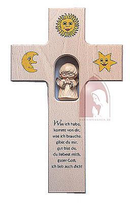 Kinderkreuz Holzengel, Sonne, Mond und Stern