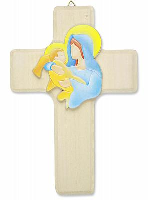 Kinderkreuz 'Maria mit Jesuskind', Lindenholz