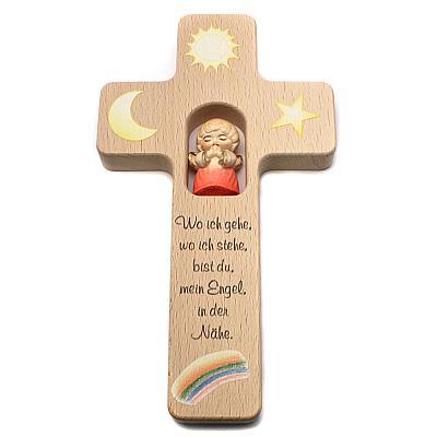 Kinderkreuz mit geschnitzem Holzengel, rot