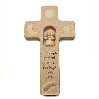 Kinderkreuz mit geschnitztem Holzengel