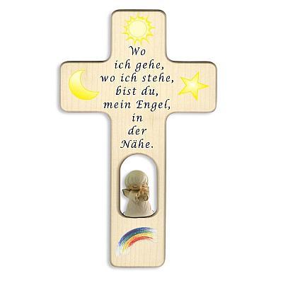 Kinderkreuz mit geschnitztem Holzengel (Engel in hellem Gewand)
