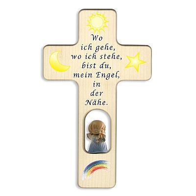 Kinderkreuz mit Holzengel II, blau (Engel in blauem Gewand)
