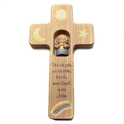 Kinderkreuz mit Holzengel II, blau