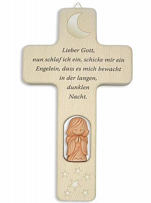 Kinderkreuz mit Tonengel 'Lieber Gott, nun schlaf ich ein...'