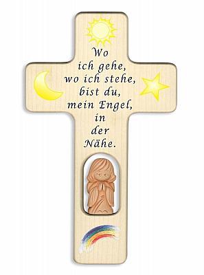 Kinderkreuz mit Tonengel 'Wo ich gehe, wo ich stehe'