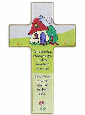 Kinderkreuz Pilzhaus mit Spruch