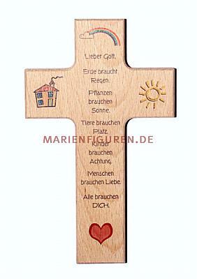 Kinderkreuz Regenbogen mit Gebet