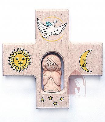 Kinderkreuz, Sonne Mond und Sterne mit Engelfigur