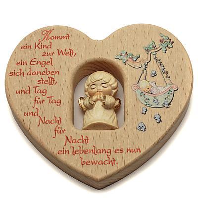 Kinderzimmer Herz mit geschnitztem Engel, hell