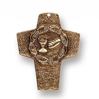 Kommunionkreuz 'Brot und Wein', Bronze