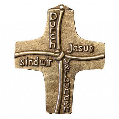 Kommunionkreuz 'Durch Jesus sind wir verbunden', Bronze