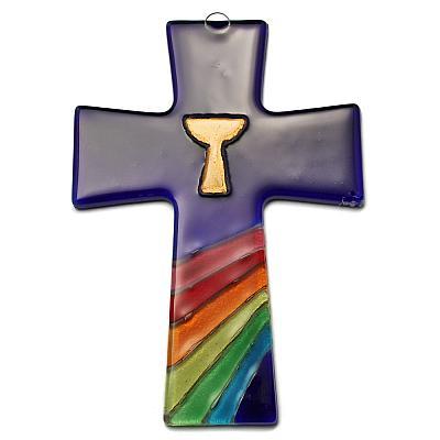 Kreuz aus Glas blau, Kelch mit Regenbogen (Blau)