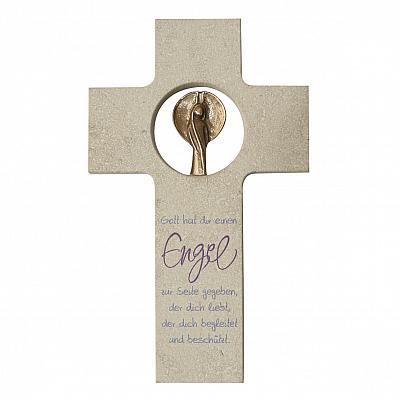 Kreuz 'Ein Engel an deiner Seite', Stein & Bronze