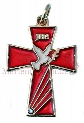 Kreuz Emaille Taube rot II