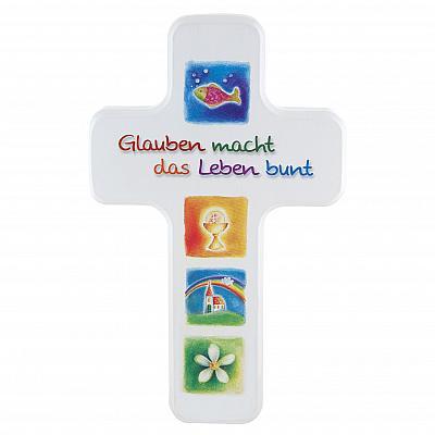 Kreuz 'Glauben macht das Leben bunt'