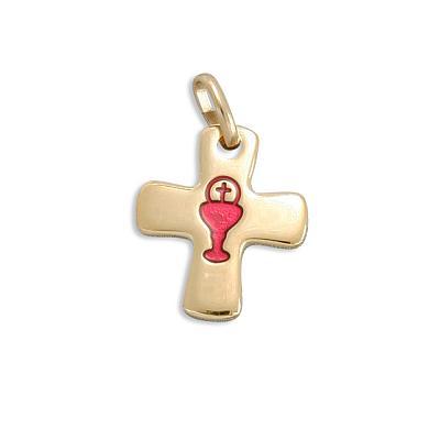 Kreuz mit rotem Email Kelch, goldfarben (Goldfarben/rot)