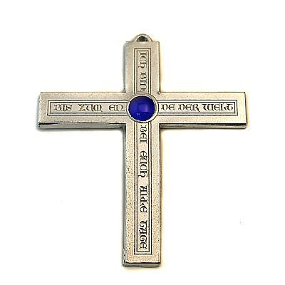 Zinnkreuz 'Ich bin bei Euch', blau
