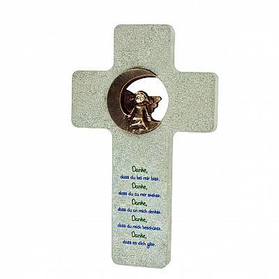Kreuz 'Meinem Engel sei Dank!', Stein & Bronze