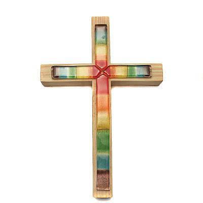 Kreuz mit Glasauflage 'Regenbogen'