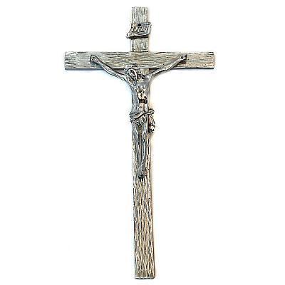 Kruzifix aus Zinn, Holzoptik (vv)