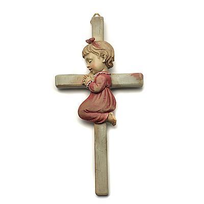 Kreuz mit Mädchen kniend (Rot)
