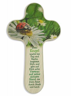 Kreuz mit Marienkäfer und Engelspruch