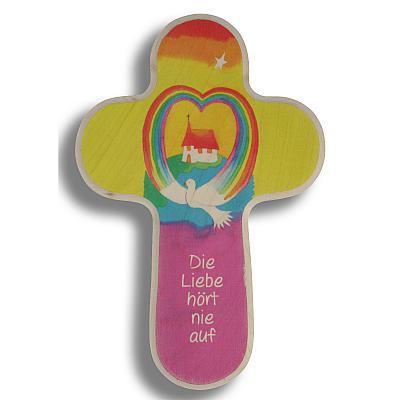 Kreuz Regenbogen 'die Liebe hört nie auf'