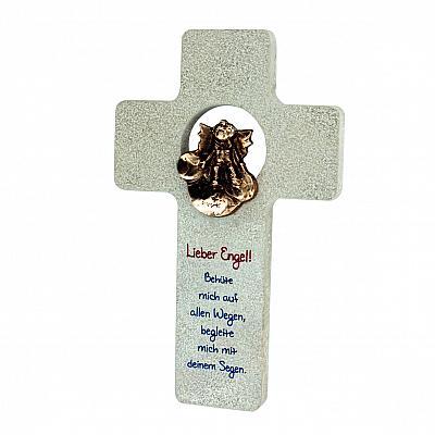 Kreuz 'Schutzengel bewache mich', Stein & Bronze