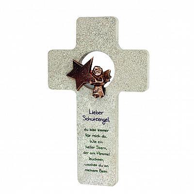 Kreuz 'Schutzengel mein heller Stern', Stein & Bronze
