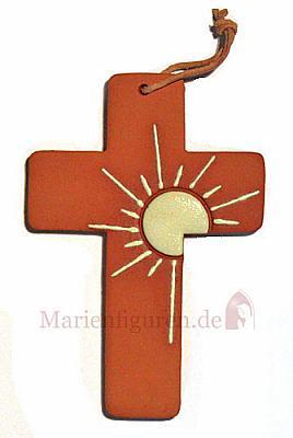 Kreuz Sonne aus Ton, 12 cm