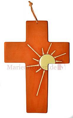 Kreuz Sonne aus Ton, 22 cm