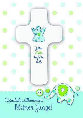 Kreuz zur Geburt 'Herzlich willkommen kleiner Junge'