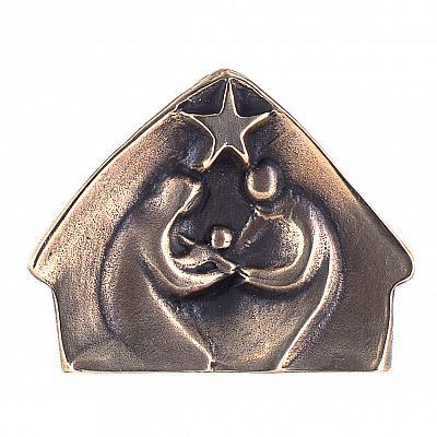 Krippenrelief aus Bronze