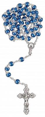 Rosenkranz eingefaßte Perle, blau mattiert (Blau)
