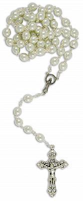 Rosenkranz eingefaßte Perle, weiß mattiert (Weiß)