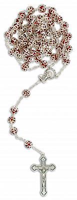 Rosenkranz verzierte Perle, rot (Rot)