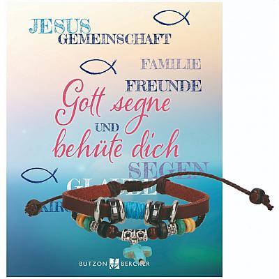 Lederarmband 'Gott segne und behüte dich'