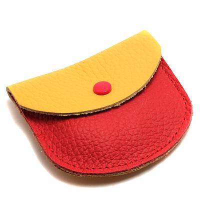 Leder Etui gelb/rot