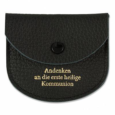 Rosenkranzetui aus Leder 'Andenken an die erste heilige Kommunion', schwarz (Schwarz)