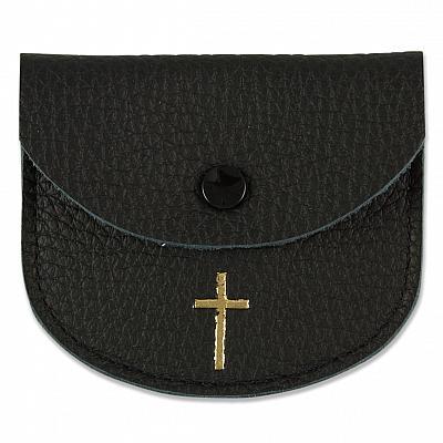 Rosenkranzetui aus Leder mit goldfarbenem Kreuz, schwarz (Schwarz)