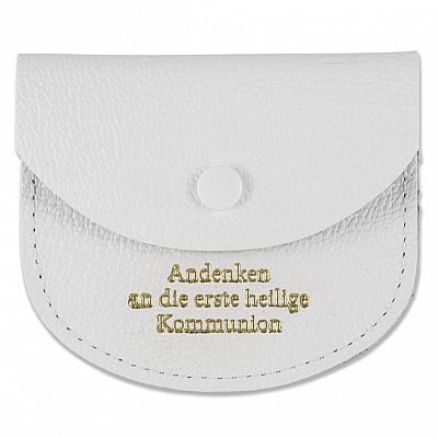Rosenkranzetui aus Leder 'Andenken an die erste heilige Kommunion', weiß (Weiß)