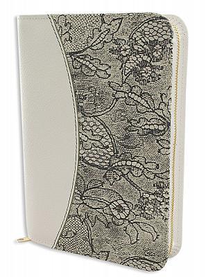 Gotteslobhülle mit Blumenmotiv, echt Leder weiß (Weiß)
