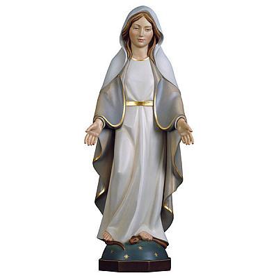 Madonna Gnadenspenderin auf Weltkugel aus Holz